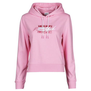 textil Dame Sweatshirts Tommy Jeans TJW CROPPED TOMMY FLAG HOODIE Pink