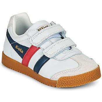 Sko Børn Lave sneakers Gola HARRIER LEATHER VELCRO Hvid / Marineblå / Rød