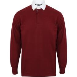 textil Herre Polo-t-shirts m. lange ærmer Front Row FR100 Deep Burgundy/White