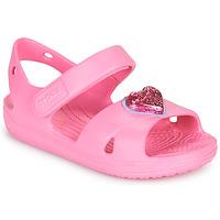 Sko Pige Sandaler Crocs CLASSICCROSSSTRAPCHARMSANDAL T Pink