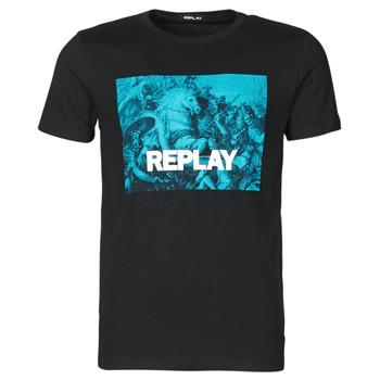 textil Herre T-shirts m. korte ærmer Replay M3412-2660 Sort / Blå