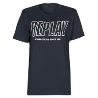 textil Herre T-shirts m. korte ærmer Replay M3395-2660 Marineblå