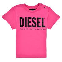textil Pige T-shirts m. korte ærmer Diesel TJUSTLOGOB Pink