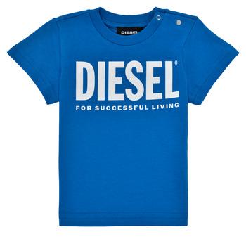 textil Dreng T-shirts m. korte ærmer Diesel TJUSTLOGOB Blå