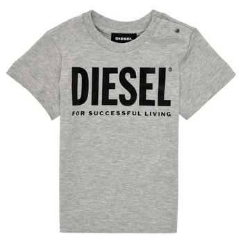 textil Børn T-shirts m. korte ærmer Diesel TJUSTLOGOB Grå