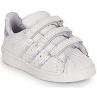 Sko Pige Lave sneakers adidas Originals SUPERSTAR CF I Hvid / Iriserende