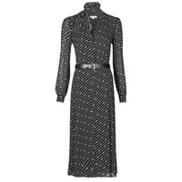 textil Dame Lange kjoler MICHAEL Michael Kors CIRCLE LOGO SHRT DRS Sort / Hvid
