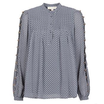 textil Dame Toppe / Bluser MICHAEL Michael Kors MINI FLORAL LS TOP Marineblå