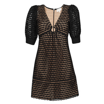 textil Dame Korte kjoler MICHAEL Michael Kors GEO EYELET MINI DRESS Sort