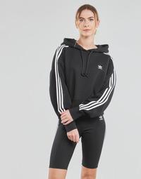 textil Dame Sweatshirts adidas Originals SHORT HOODIE Sort