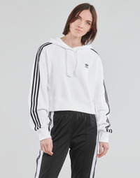 textil Dame Sweatshirts adidas Originals SHORT HOODIE Hvid