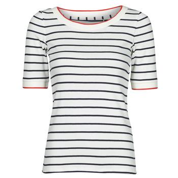 textil Dame T-shirts m. korte ærmer Esprit RAYURES COL ROUGE Hvid