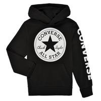 textil Dreng Sweatshirts Converse SIGNATURE CHUCK PATCH HOODIE Sort