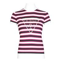 textil Dame T-shirts m. korte ærmer Guess GERALDE TURTLE NECK Sort / Hvid