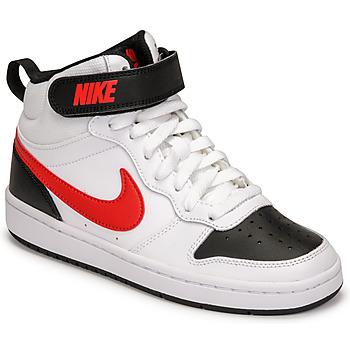 Sko Dreng Lave sneakers Nike NIKE COURT BOROUGH MID 2 Hvid / Rød / Sort