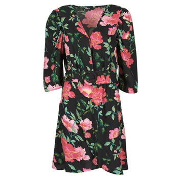textil Dame Korte kjoler Only ONLEVE 3/4 SLEEVE SHORT DRESS WVN Sort / Pink