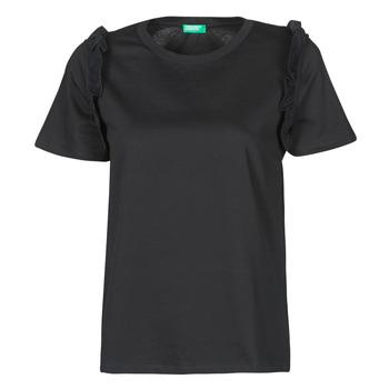 textil Dame T-shirts m. korte ærmer Benetton MARIELLA Sort