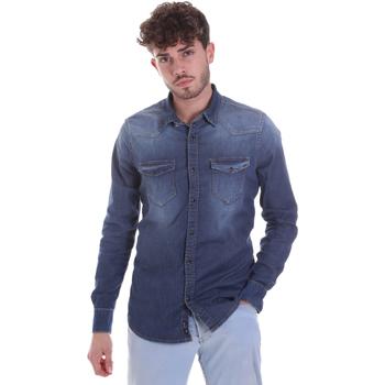 textil Herre Skjorter m. lange ærmer Gaudi 021GU46001 Blå