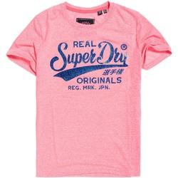 textil Dame T-shirts m. korte ærmer Superdry G10135TT Lyserød