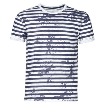 textil Herre T-shirts m. korte ærmer Yurban OLORD Marineblå / Hvid