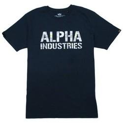 textil Herre T-shirts m. korte ærmer Alpha T-shirt  Camo Print bleu nuit/blanc
