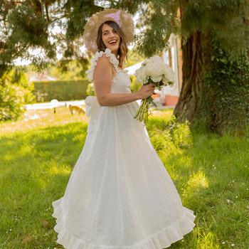 textil Dame Lange kjoler Céleste AURORE Hvid