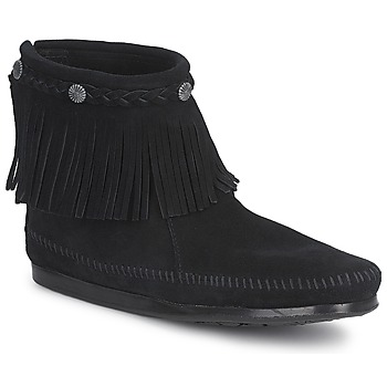 Sko Dame Støvler Minnetonka HI TOP BACK ZIP BOOT Sort