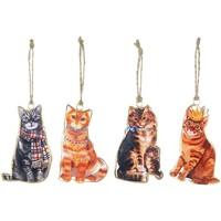 Indretning Festpynt Signes Grimalt Hængende katte sæt 4 U Multicolor