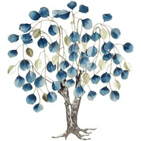 Indretning Kunstige planter Signes Grimalt Tree Leaves Wall Ornament Azul