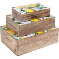Indretning Kufferter og opbevaringskister Signes Grimalt Sæt 3 æsker citroner Marrón