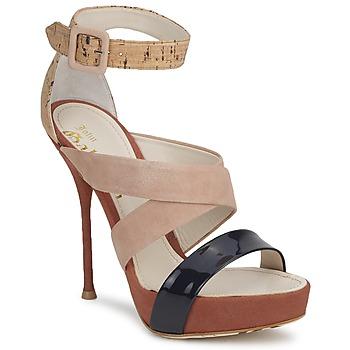 Sko Dame Sandaler John Galliano AN6363 Pink / Marineblå / Beige