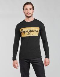 textil Herre Langærmede T-shirts Pepe jeans CHARING LS Sort