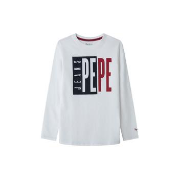 textil Dreng Langærmede T-shirts Pepe jeans AARON Hvid