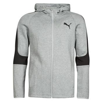 textil Herre Sweatshirts Puma EVOSTRIPE CORE FZ HOODIE Grå / Sort
