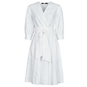textil Dame Korte kjoler Karl Lagerfeld LOGO EMROIDERED SHIRT DRESS Hvid