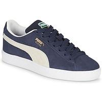 Sko Børn Lave sneakers Puma SUEDE JR Blå / Hvid