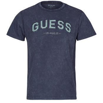 textil Herre T-shirts m. korte ærmer Guess GUESS COLLEGE CN SS TEE Marineblå