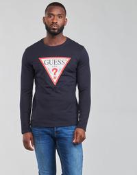 textil Herre Langærmede T-shirts Guess CN LS ORIGINAL LOGO TEE Marineblå