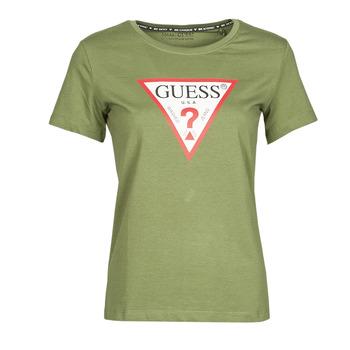 textil Dame T-shirts m. korte ærmer Guess SS CN ORIGINAL TEE Kaki
