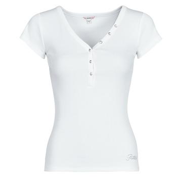 textil Dame T-shirts m. korte ærmer Guess ES SS V NECK LOGO HENLEY TEE Hvid