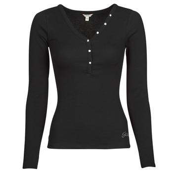 textil Dame Langærmede T-shirts Guess ES LS V NECK LOGO HENLEY TEE Sort