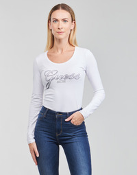 textil Dame Langærmede T-shirts Guess LS CN RAISA TEE Hvid