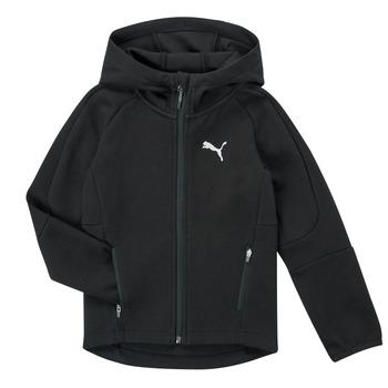 textil Dreng Sweatshirts Puma EVOSTRIPE FZ HOODED JACKET Sort
