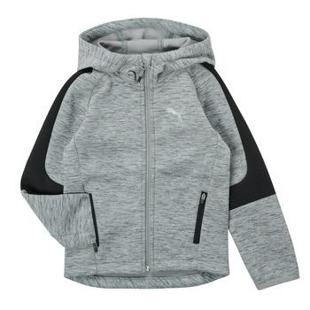 textil Dreng Sweatshirts Puma EVOSTRIPE FZ HOODED JACKET Grå