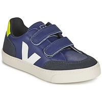 Sko Børn Lave sneakers Veja SMALL V-12 VELCRO Blå / Hvid