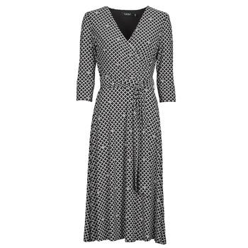 textil Dame Lange kjoler Lauren Ralph Lauren CARLYNA-3/4 SLEEVE-DAY DRESS Sort