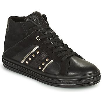Sko Dame Høje sneakers Geox LEELU Sort / Sølv
