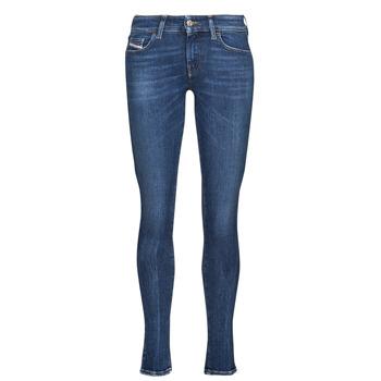 textil Dame Jeans - skinny Diesel SLANDY-LOW Blå / Mørk