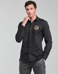 textil Herre Skjorter m. lange ærmer Versace Jeans Couture SLIM PRINT V EMBLEM GOLD Sort / Guld
