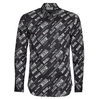 textil Herre Skjorter m. lange ærmer Versace Jeans Couture SLIM PRINT WARRANTY Sort / Hvid